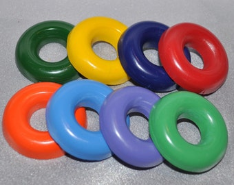 Recycled Crayons Ring Shaped - Total of 8 Crayons All Different Colors.  Boy or Girl Kids Unique Party Favors, Crayons.