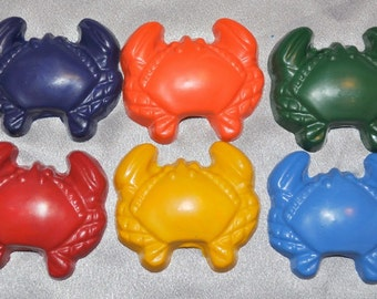 Recycled Crayons Large Crab Shaped, Total of 6.  Boy or Girl Kids Unique Party Favors, Crayons.