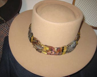 26641893e5d Gentleman Cowboy Suede Hat w Feather Band Churchill Cowboy Hat Beige Suede  Cowboy Hat