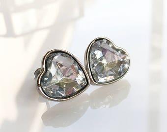 Silver Heart Stud Earrings, Rhinestone Heart Earrings, Vintage Heart Earrings, Vintage Heart Post Earrings, Vintage Rhinestone Earrings