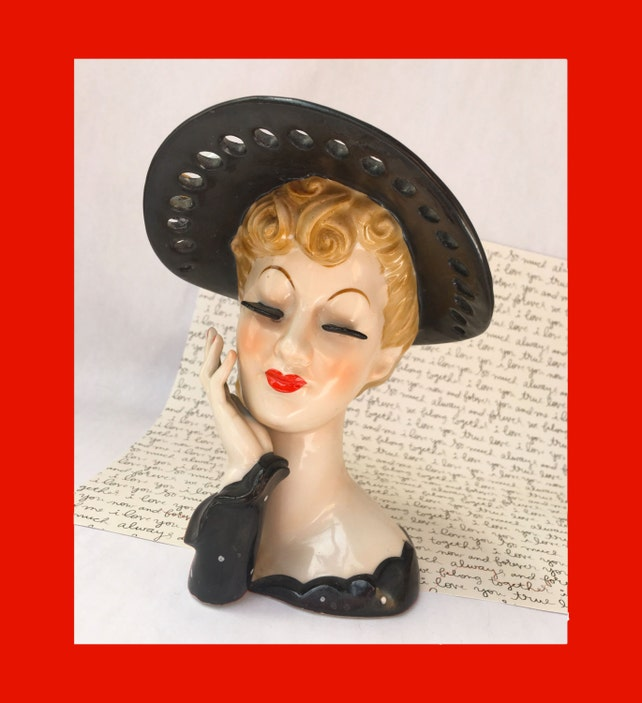 Lady Head Planter Napco Head Vase Lady Head Vase Black Hat Etsy