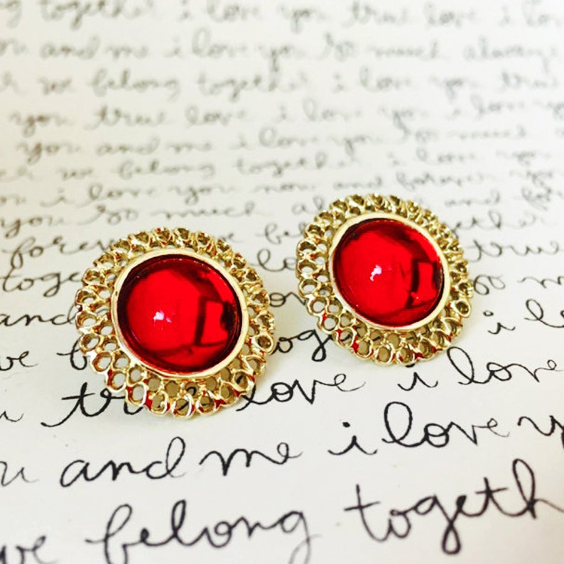 b9d9b19088a0d Red Gemstone Earrings, Red and Gold Wedding Earrings Studs, Vintage Red  Earrings, Red Stud Earrings, Gold and Red Bridal Earrings Studs