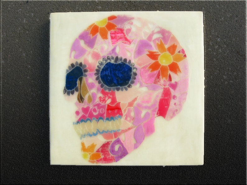 One Of A Kind Art Pink Sugar Skull Gifts Sugar Skull Art Ink Image Transfer On Wood 10x10 Girly Skull Home Decor Carved Wood Wall Art