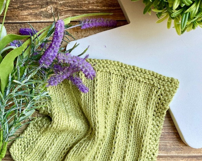 Featured listing image: KNITTING PATTERN - Zoey Dishcloth, Knit Dishcloth Pattern, Knitted Dishcloth Pattern, Knit Washcloth Pattern