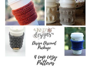 Knitting Patterns Discount Package / Coffee Cozy, Tea Cup Sleeve Holder, Knit Pattern, Knitting Pattern Coffee Cozy, Beginner Knitting PDF