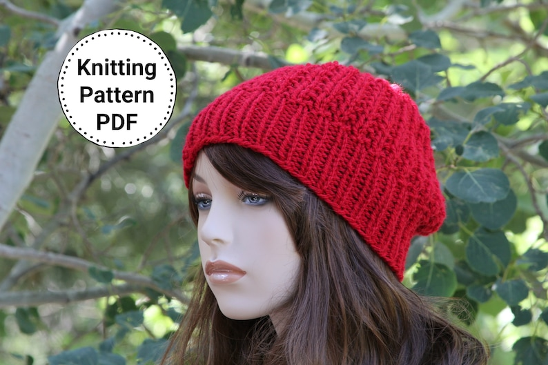 c2ae0e7e0bb2e KNIT HAT PATTERN Instant Pdf Download Britney Slouchy Beanie