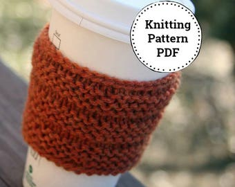 KNITTING PATTERN-Corrugated Cup Sleeve, Cozy Pattern