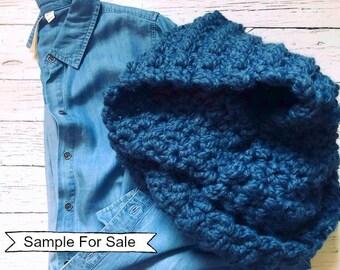 Crochet Scarf, Chunky Crochet Scarf, Blue Scarf, Chunky Scarf, Wool Scarf, Winter Scarf, Long Scarf, Crochet Scarves, Loop Scarf