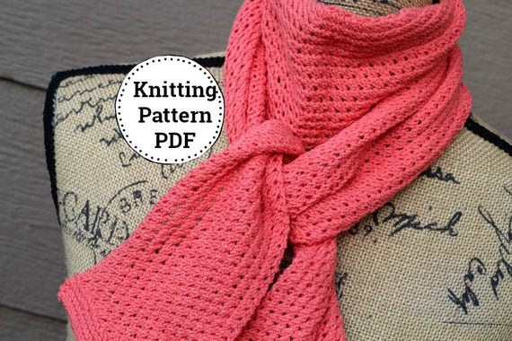 Knitting Pattern Knit Scarf Pattern Knitted Scarf Pattern Etsy