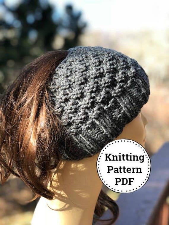 Knit Bun Hat Pattern Messy Bun Hat Pattern Knitting Pattern  59201e00c1c