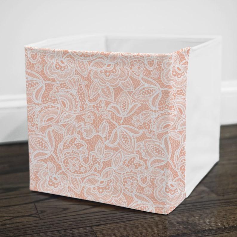 Blush Lace Storage Bin Cover Fits Into Ikea Kallax Or Etsy