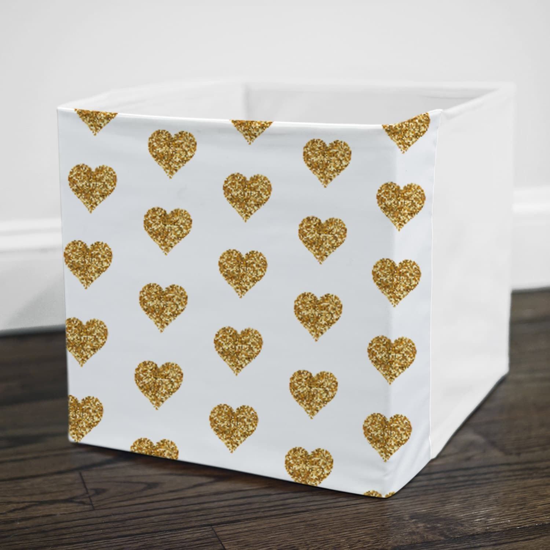 gold glitter hearts storage bin cover fits into ikea etsy
