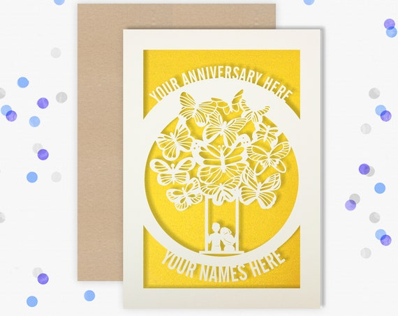 Any year Personalised Wedding Anniversary Card, Anniversary card 1, 2, 3, 4, 5, 6, 7, 8, 9, 10, 15, 18, 20, 25 Anniversary Card for Couple
