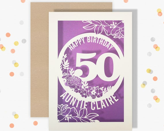 Personalised 50 Papercut Birthday Card Floral design with the name and age of your choice Any Age, for 18, 21, 30, 40, 50, 60, 70, 75, 80