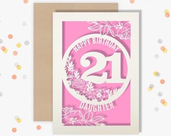 Personalised 21 Papercut Birthday Card Floral design with the name and age of your choice Any Age, for 18, 21, 30, 40, 50, 60, 70, 75, 80