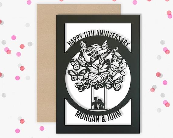 Personalised 11 Year Wedding Anniversary Card.  11th Wedding anniversary paper cut card Steel Anniversary