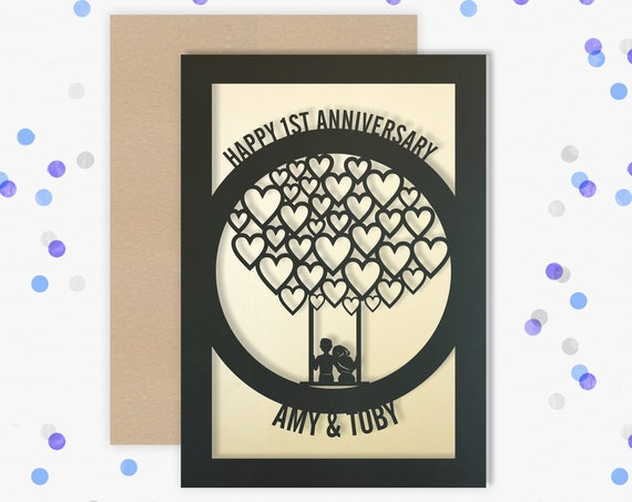 1st Wedding Anniversary Card Personalised Papercut card First Year wedding anniversary Card. Celebrate your 1st Paper wedding anniversary