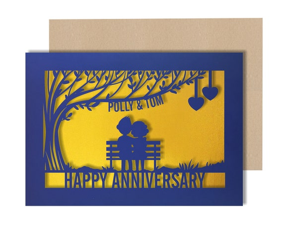 Anniversary Card Personalised Papercut card,  wedding anniversary Celebrate with this beautiful Card for couples