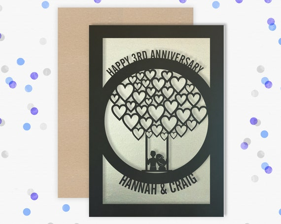 Personalised 3 Year Wedding Anniversary Card.  3rd Wedding anniversary paper cut card Leather Anniversary Card for couple