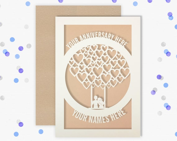 Any year Personalised Wedding Anniversary Card, Anniversary card 1, 2, 3, 4, 5, 6, 7, 8, 12, 13, 14, 16, 17, 19 Anniversary Card for Couple