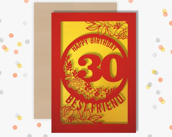 Personalised 30 Papercut Birthday Card Floral design with the name and age of your choice Any Age, for 18, 21, 30, 40, 50, 60, 70, 75, 80