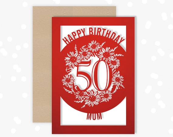 Personalised Papercut 50th Birthday Card Sunflower design for her
