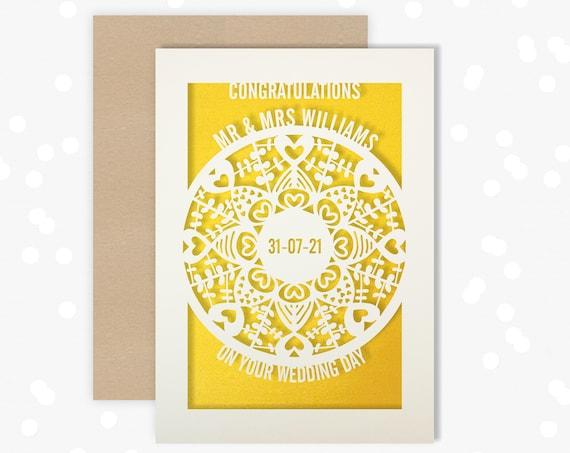 Personalised Wedding Card Paper Cut Wedding Greeting Card, Congratulations Wedding Day for Newlyweds Laser Cut