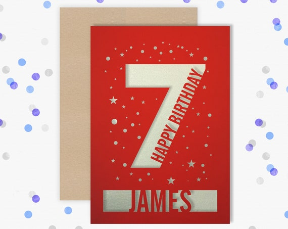 Personalised 7th Birthday Card Papercut contemporary star design Second Birthday, 7 Birthday, card for him