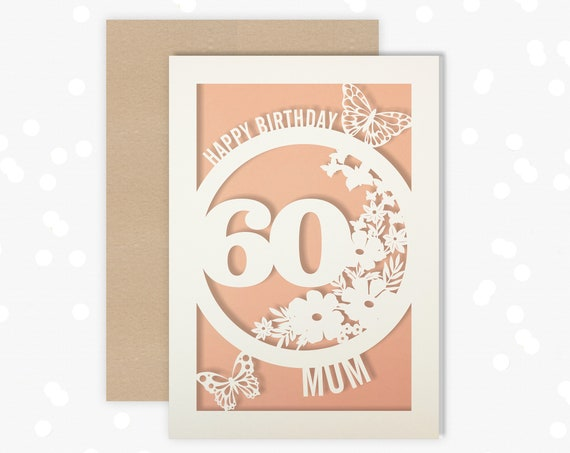 Personalised 60th Birthday Card Papercut Butterfly design Card for her 60