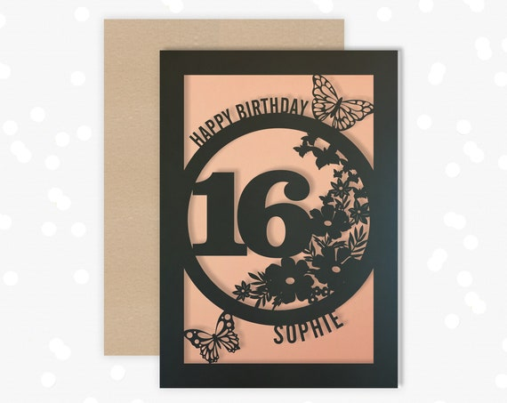 Personalised 16 th Papercut Birthday Card Butterfly design with the name and age of your choice Any Age, 18, 21, 30, 40, 50, 60, 70, 75, 80
