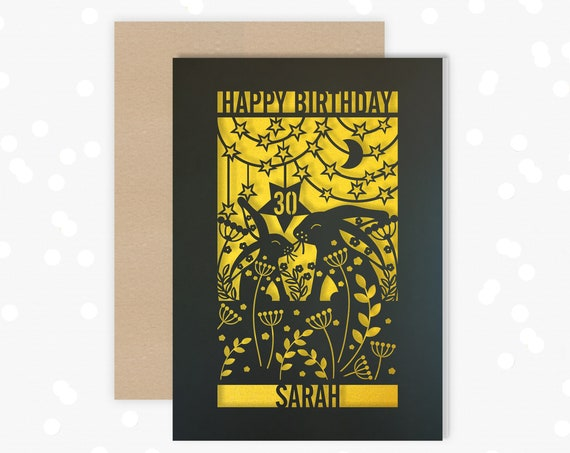 Personalised 30th Papercut Birthday Card Rabbit, Hare, Star, Moon design with the name your choice.