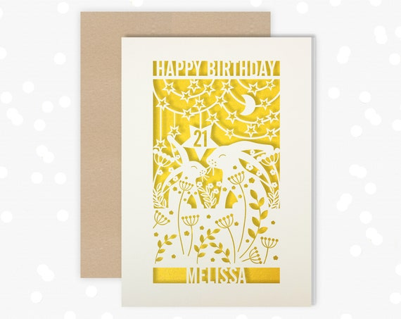 Personalised 21st Birthday Paper cut card, rabbit, hare, stars and moon design, 21 Birthday card for her