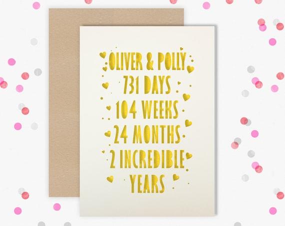 Personalised 2 Year Wedding Anniversary Card.  2nd Wedding anniversary paper cut card