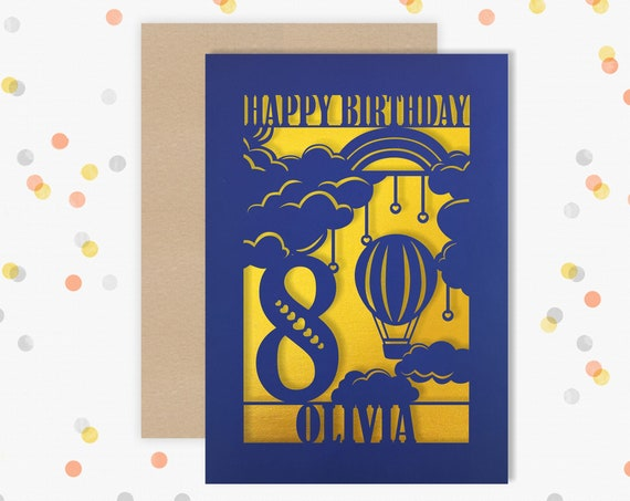 Personalised 8 th Birthday Papercut Birthday Card Hair balloon design with the name your choice. 8th Eighth Birthday card