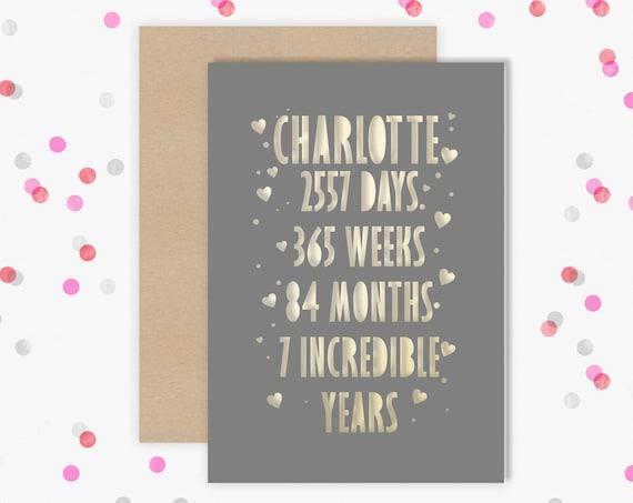 Personalised 7 Year Wedding Anniversary Card.  7th Wedding anniversary paper cut card Copper Anniversary