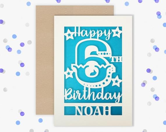 Personalised 6th Birthday Card Papercut contemporary Circus design Sixth Birthday, 6 Birthday, card for him