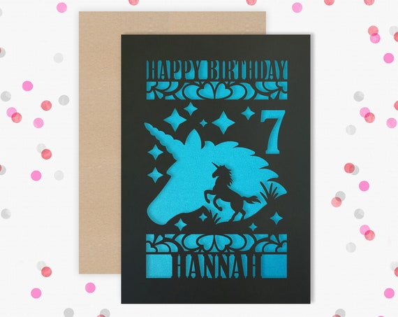 Personalised 7th Papercut Birthday Card Unicorn design with the name your choice. Granddaughter, neice, daughter, friend