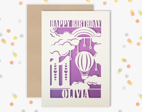 Personalised 11 th Birthday Papercut Birthday Card Hair balloon design with the name your choice. 11th Age Birthday card