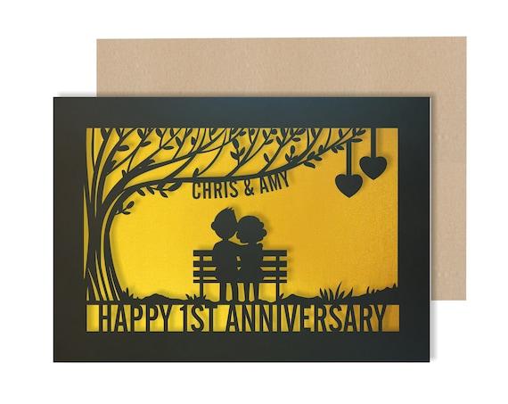 1st Wedding Anniversary Card Personalised Papercut First Year wedding anniversary Card. Celebrate your 1st Paper wedding anniversary