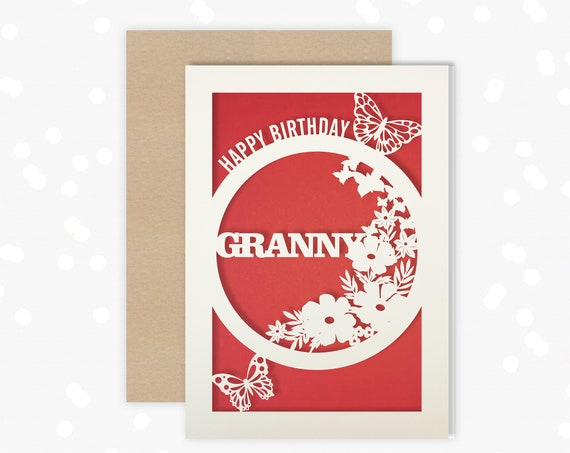 Granny Birthday Card Papercut Butterfly design Card for her