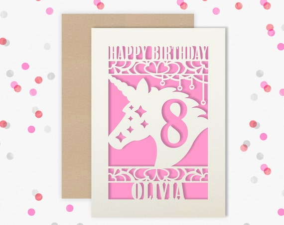 Personalised 8th Papercut Birthday Card Unicorn design with the name your choice. Granddaughter, neice, daughter, friend