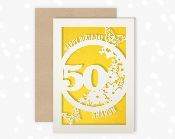Personalised 50 Papercut Birthday Card Butterfly design with the name and age of your choice Any Age, for 18, 21, 30, 40, 50, 60, 70, 75, 80