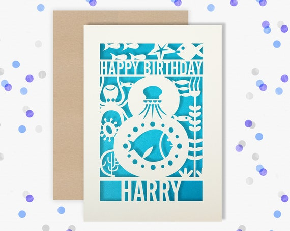 Personalised 8th Papercut Birthday Card Fish design with the name your choice. Grandson, nephew, son