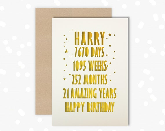 21 Personalised Papercut Birthday Card for him with the name of your choice. 21st Birthday card for son
