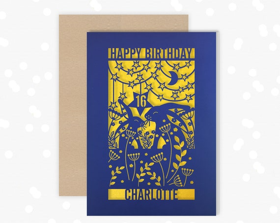 Personalised 16th Papercut Birthday Card Hare Rabbit Star design with your choice of name. Add any Age, 18, 21, 30, 40, 50, 60, 70, 75, 80