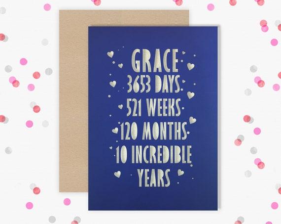 Personalised 10 Year Wedding Anniversary Card.  10th Wedding anniversary paper cut card Tin Anniversary