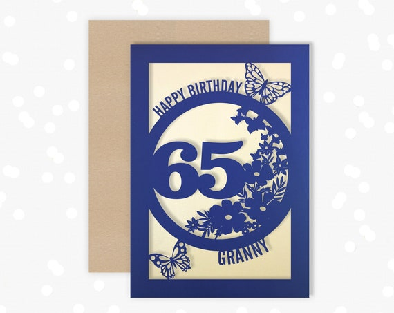 Personalised 65th Birthday Card Papercut Floral design Card for her 65 Butterfly Design