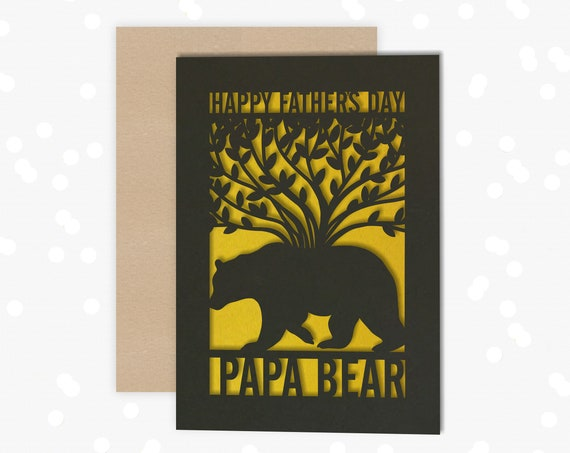 Personalised, Fathers Day Card, Papercut Card, Papa Bear, Daddy Bear, Card for him