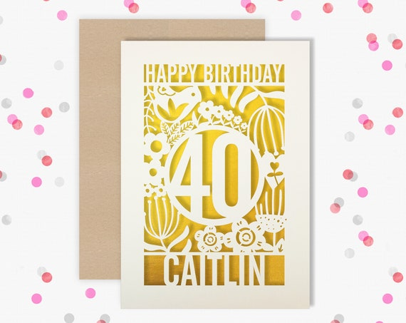 Personalised 40th Birthday Card Papercut Scandi Floral design with flowers, leaves and delicate swirls