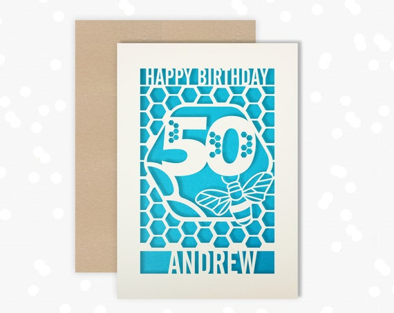Personalised 50th Birthday Paper cut card, bumble bee & honeycomb design, 50 Birthday card